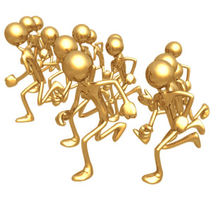 gold figures running