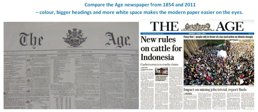 Comparing The Age newspaper in 1854 and 2011 - more white space and colour makes it easier on the eyes