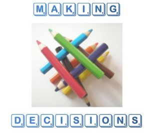 making decisions around a pile of coloured pencils