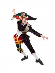 Court jester (harlequin) dancing as April Fool
