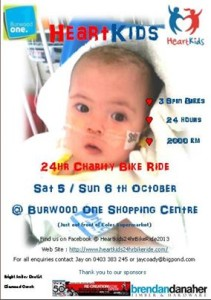 Heartkids charity bike marathon poster for 5 to 6 October