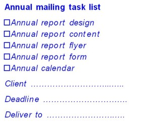 Task list for annual mailing