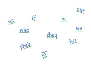 Common pronouns such as we, us, they, he, she and our