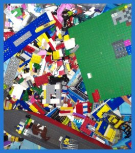 large pile of Lego peices of various colours and sizes