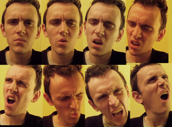 Collage of a man's face looking confused